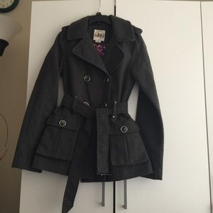 Grey Double Breasted Wool Peacoat SZ Small